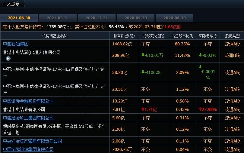 中国十大股东